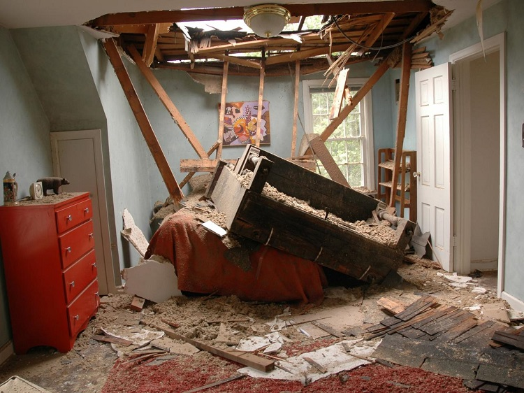 Interior Damage with Roofing Repair